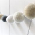 Felt Ball Garland. Pom Nursery Bunting Girls Room Decor. Neutral Grey White