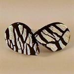 Black & silver foil tear drop polymer clay stud