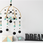 Baby Crib Mobile. Nursery Cot Mobile. Aqua Teal Black Boys Felt Ball Mobile.