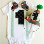 Forest Foxes Woodland Theme Baby Boy's First Birthday 1st birthday Outfit