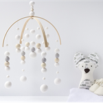 Baby Crib Mobile. Nursery Cot Mobile. White Grey Neutral Felt Ball Mobile.