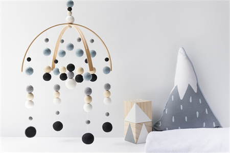 Baby Crib Mobile. Nursery Cot Mobile. Blue Black Grey White Boy Felt Ball Mobile