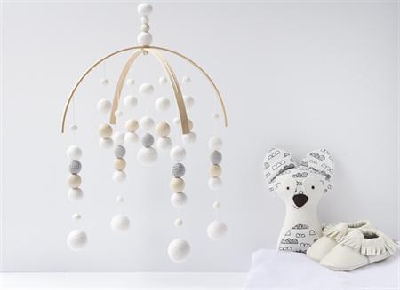 Baby Crib Mobile. Nursery Cot Mobile. White Grey Neutral Felt Ball Mobile.