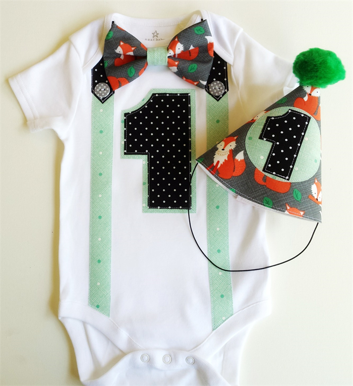 Forest Foxes Woodland Theme Baby Boys First Birthday 1st Outfit