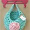 Mint Soft Pink Crochet Hanging Yarn Basket , tshirt Yarn Basket ,