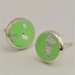 GREEN BEZEL SET POLYMER CLAY EARRINGS