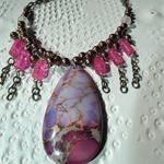 Boho Magic SALE Sea Sediment Jasper Rose Quartz brown purple pink chain