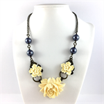 Pale yellow floral necklace