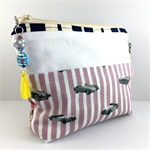 Cosmetics / makeup bag with flower brooch and beaded tassel zipper- navy & pink