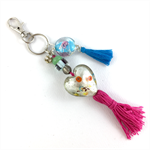 Beaded tassel bag charm or key ring - pink and blue