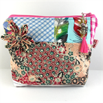 Cosmetics / makeup bag with flower brooch and beaded tassel zipper- pink & peach