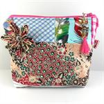 Cosmetics / makeup bag with flower brooch and beaded tassel zipper- pink & peach