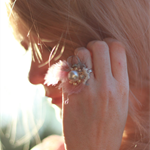 pink feather ring, cream silk beaded ring