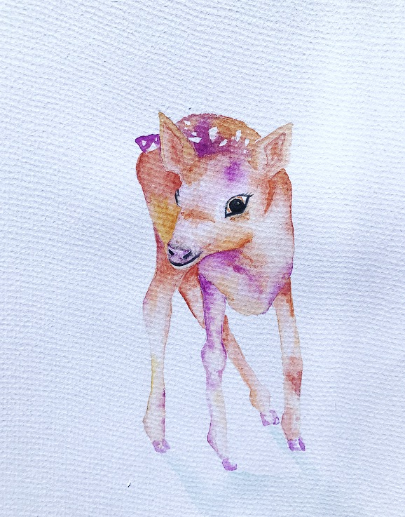 Baby Deer Nursery Art Hand Painted Original