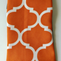 BUSHFIRES Orange and white geometric pattern denim sleeve with calico lining