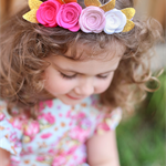 """Ashlyn"" ombre felt flower headband in shades of pink and white"
