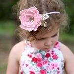 """A Posy for Peyton"" large felt flower & nylon headband in light pink & champagne"