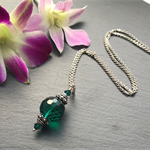 Emerald Green Necklace - Green Swarovski Necklace - Sterling Silver Necklace