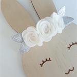 """""""Evarni"""" felt flower & nylon headband in white and silver"""