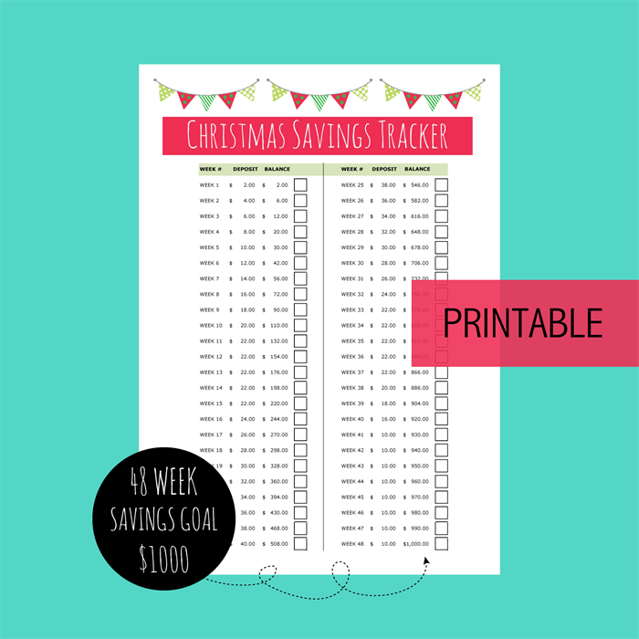 printable christmas savings tracker xmas budget planner money