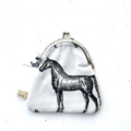 LAST ONE Horse Pony  Foal monochrome modern geometric coin purse clutch