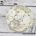 White Buttons Drink coffee coaster or paperweight - Single - Resin