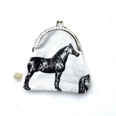 LAST ONE Horse Pony  Foal monochrome modern geometric coin purse clutch