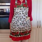 Christmas Full Apron - womens lined Festive Season hostess apron - mum gift