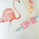 """Miss Flamingo"" pink glitter bow headband"