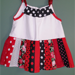 Girls Size 5 White, Red, Black and Floral Patchwork Summer, Spring Top