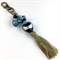 Beaded tassel bag charm or keyring - turquoise, black and bronze
