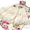 A-line Dress and Petticoat, 5-6yo Girl, back button, Pink Roses cream, cotton