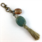 Beaded tassel bag charm or keyring - turquoise ceramic and bronze hardware