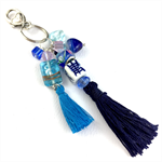 Beaded tassel bag charm or key ring - Navy and turquoise