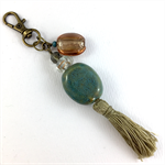 Beaded tassel bag charm or keyring - turquoise ceramic and bronze hardware