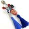 Beaded tassel bag charm or key ring - navy, white and red