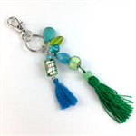 Beaded tassel bag charm or key ring - green and turquoise