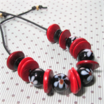 Vintage Glass and Wooden Disc Beads Adjustable Cord Necklace in Red and Black
