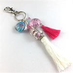 Beaded tassel bag charm or key ring - pink and white