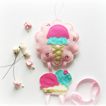 Strawberry Mint Gelato - felt hairclip headband hairtie organiser / holder