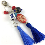 Beaded tassel bag charm or key ring - navy, white and red