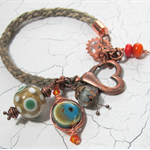 Brown Kumihimo Bracelet with Green, Orange and Brown Lampwork Beads