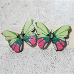 Green and Pink Wooden Butterfly Button Earrings