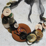Chunky Bead Necklace Featuring Wooden and Vintage Buttons