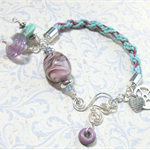 Turquoise and Purple Kumihimo Bracelet with Artisan Purple Lampwork Beads