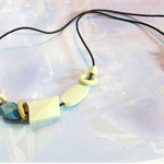 Handpainted Wooden Bead Adjustable Cord Necklace in Blue and White