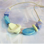 Handpainted Wooden Bead Adjustable Cord Necklace in Blue and Purple