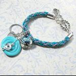 Turquoise Kumihimo Bracelet with Artisan Turquoise Lampwork Beads