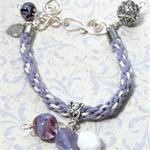 Purple Kumihimo Bracelet with Artisan Purple and White Lampwork Beads