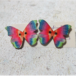 Red and Green Wooden Butterfly Button Earrings